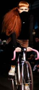 Cycle courier and Paul Smith model Sarah Jane wears Rose&Buck