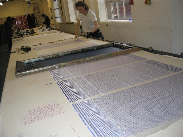 Mercedes helping to screen print linings at the London Printworks Trust
