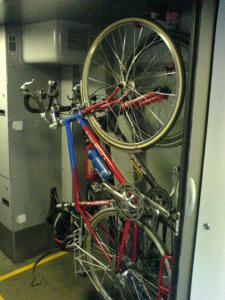 An example of poor cycle storage provision from  www.cyclaid.org.uk/ photos/bike_hanging.JPG