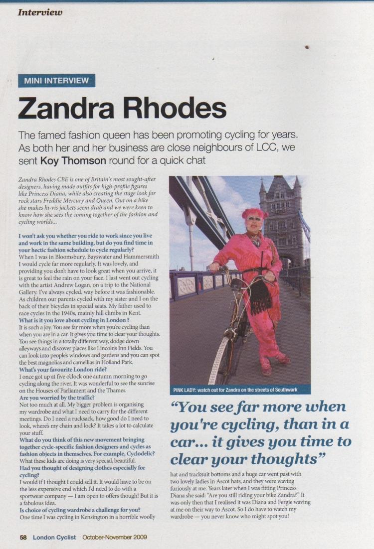 Zandra Rhodes Interview in the London Cyclist, Oct-Nov 2009